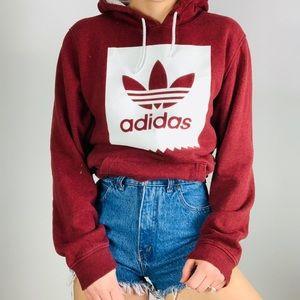 Adidas Originals Burgundy & white hoody sweatshirt
